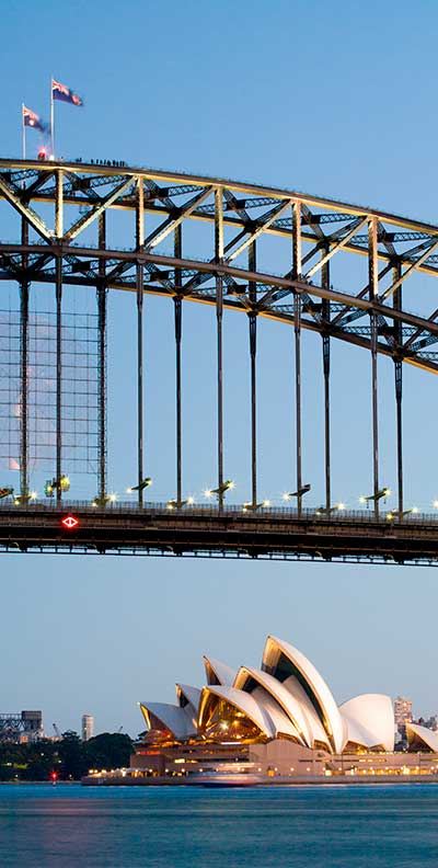 Infraco systems image of Sydney harbour bridge and opera house